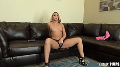 AJ Applegate teases her tits with a vibe and gets ready for a show