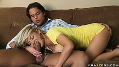 After performing a blowjob, Katie Kox sits on the guy's cock to fuck him hard