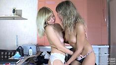 Well-endowed harlot Nora stimulates clit of passionate Paulina A