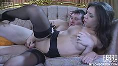 Petite brunette in black stockings Jen has Rolf spoon fucking her pussy