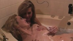 Melanie Moore and P.J. Sparxx indulge in hot lesbian sex in the bathtub